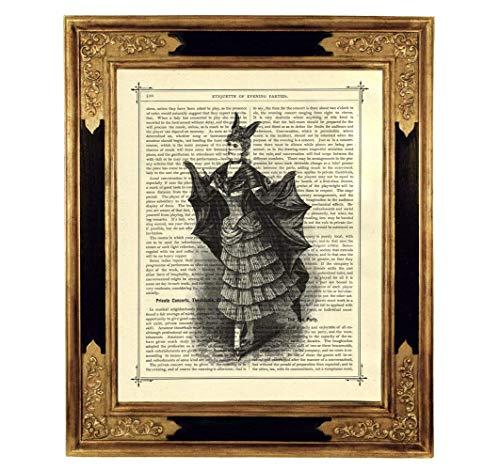 Vampir Dame Umhang Kostüm Kunstdruck auf viktorianischer Buchseite Geschenk Halloween Deko Gothic Steampunk ungerahmt