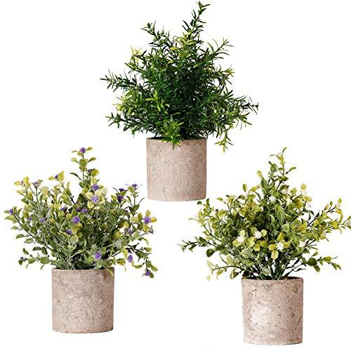 Künstliche Pflanzen Lebensechte Kunstpflanze Kleine Gefälschte Pflanzen mit Töpfe für Zuhause/Büro Innen Decor,Hochzeit Geburtstag Weihnachten Geschenk(3 stücke),A01