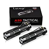 LETMY Tactical Flashlight, Super Bright LED Mini Flashlights with Belt Clip, Zoomable, 3 Modes, Waterproof - Best EDC Flashlight for Gift, Hiking, Camping & Power Outage (2 Pack)