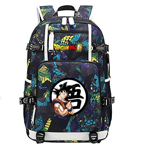 ZZGOO-LL Dragon Ball Son Goku/Vegeta IV/Torankusu Anime Cosplay Bookbag College Bag Mochila Mochila Escolar con Puerto de Carga USB-B