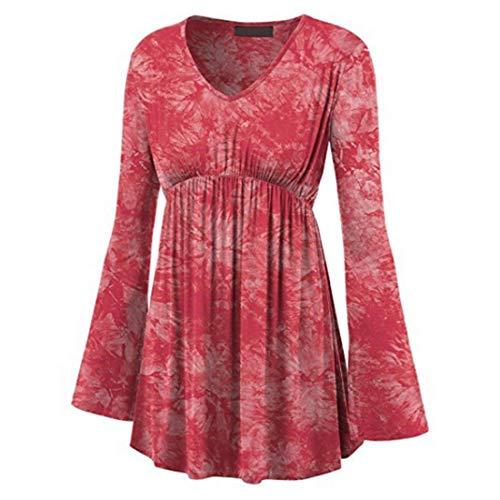 Damen V-Ausschnitt Langarm Blusen Tops Casual Modische Minikleid Sexy Elegante Stil T-Shirt Tops Bequeme Cocktail Prom Kleider Lässige Tägliche Kleidung Urlaub Strand L