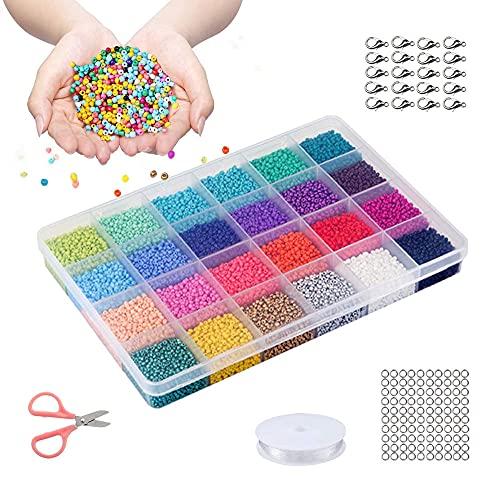 Jxunter 14400 cuentas de semilla de cristal, cuentas redondas para hacer joyas, mini pony para manualidades, decoración de bricolaje, 24 colores de cuentas de cristal para pulseras (3 mm)