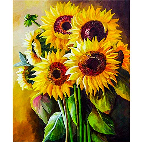 DIY 5D Diamond Painting Kits for Adults, Sunflowers Full Drill Crystal Embroidery Paintings Pictures Rhinestone Pasted DIY Painting Cross Stitch Arts Craft for Home Wall Decor, Gift 12x16 Inch