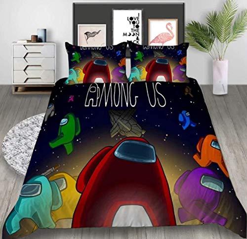 Baryy Among Us Duvet Cover Set, Among-Us 3 Pieces Bedding Set, 100% Microfibre, Super Soft, Comfortable, All Year Duvet Cover Set (200 x 240 cm + 50 x 75 cm x 2)
