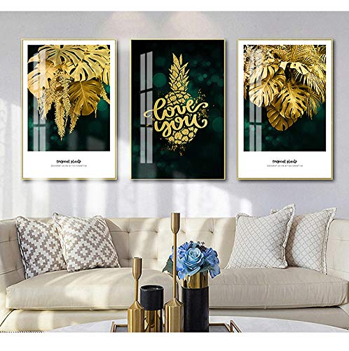 "Sungup Posters for Room Aesthetic Gold Plant Painting Leaf Poster Print Minimalist Canvas Painting Wall Art for Modern Wall Decor No Frame 20""x28""(50x70cm)×3"