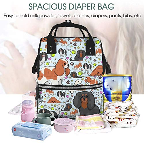 UKFaaa Large Diaper Bag Backpack,Cavalier聽King聽Charles聽Spaniel Pattern Waterproof Mummy Dad Backpack Maternity Baby Nappy Changing Bags with Stroller Hooks