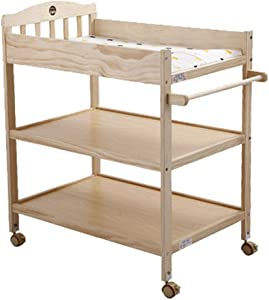 ZSHG-Changing Tables Baby Diaper Table Solid Wood European Natural Pine Care Touch Massage Table with Casters Wooden Bath Storage Table for Newborn Infant