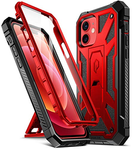 Poetic Spartan for iPhone 12/ iPhone 12 Pro 6.1 inch Case, Full-Body Rugged Dual-Layer Metallic Color Accent with Premium Leather Texture Shockproof Protective Cover with Kickstand, Metallic Red