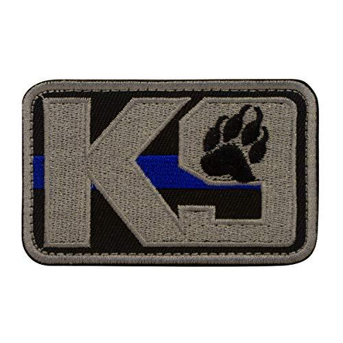 Cobra Tactical Solutions K9 Thin Blue Line Chien Police Dog Ecusson Brodé Patch Tactique Moral Militaire Applique Emblème Insignes Fastener à Crochet et Boucle Airsoft Paintball Cosplay