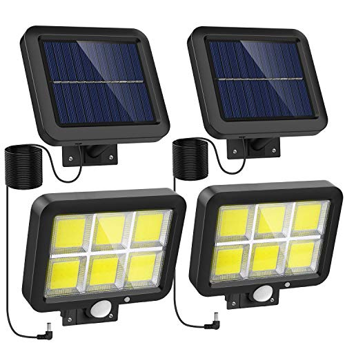 Solar Lights Outdoor Motion Sensor w/ 240 Bright COB LED, 16.4Ft Cable, 3 Lighting Modes, Adjustable Panels. Wired Security Solar Powered Flood Lights for Indoor, Outside, Yard, Garden(5500K, 2 Set)