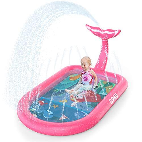 """QPAU 3-in-1 Inflatable Sprinkler Pool, 2021 New Mermaid Design Splash Pad Kiddie Pool for Kids Toddler, Outdoor Water Toys for Babies Boys Girls, 65""""x 40"""" (Pink Mermaid)"""
