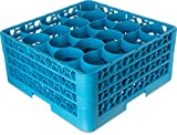 Carlisle RW20-214 OptiClean NeWave Polypropylene 20-Compartment Glass Rack with 3 Extenders, 19-3/4' Length x 19-3/4' Width x 8.72' Height, Blue (Case of 2)