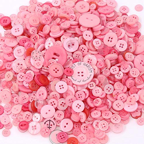 TangTanger 600+ Pcs Assorted Size Resin Buttons 2 and 4 Holes Round Craft for Sewing DIY Crafts Childrens Manual Button Painting (Pink)