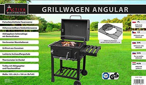 ACTIVA Grill Gusseisen Grillwagen Angular, Schwarz, Holzkohlegrill, 103 x 64,5 x 104 cm - Barbecue Grillwagen - 7