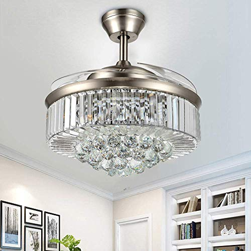 Orillon Modern Crystal Chandelier Ceiling Fan Light with 4 Retractable Blades and Remote for Indoor Room Reverse 6-Gear Speed Quiet Folding Fandelier LED Lighting (C114-42 Inches, Silver)