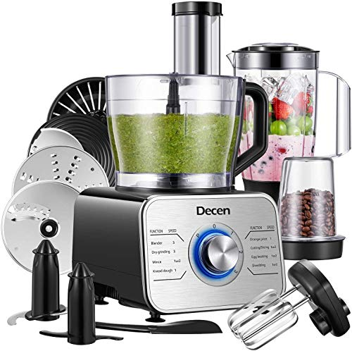 Decen Küchenmaschine Multifunktional, 1100W Food Processor mit 3 Geschwindigkeiten include Elektrischer Zerkleinerer, Standmixer, Zitruspresse, Kaffeemühle, 3.5L Rührschüssel, Silber