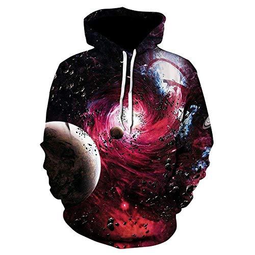 WEIYI BO Uomo/Donna Sweatshirt Hooded 3D Digital Printing Coloured Space Galaxy Stars Nebula Graphic Long Sleeve Popular Logo Hoodie Pullover Tops 13 XL