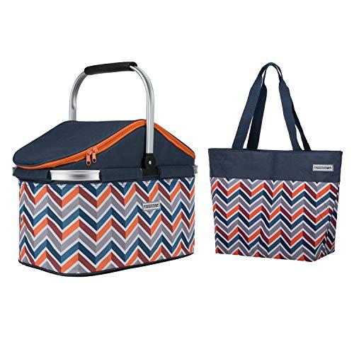 anndora Einkaufskorb 25 Liter ISO Kühlkorb dunkelblau orange im Set mit anndora Shopper 17 Liter
