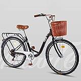 2020 Cómoda Bicicleta De Ciudad con Una Canasta, Bicicleta, Elegance Bicicleta Urbana, City Bike, Bicicleta Paseo, Bicicleta De Paseo Mujer, Bicicleta Urbana Vintage Retro,Negro,7 Speed