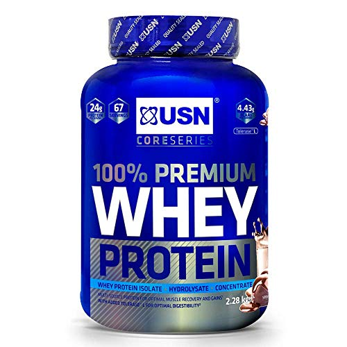 USN 100% Whey Chocolate 2.28 kg: Premium Whey Protein Whey Isolate Protein Powder Blend for Muscle Building & Maintenance