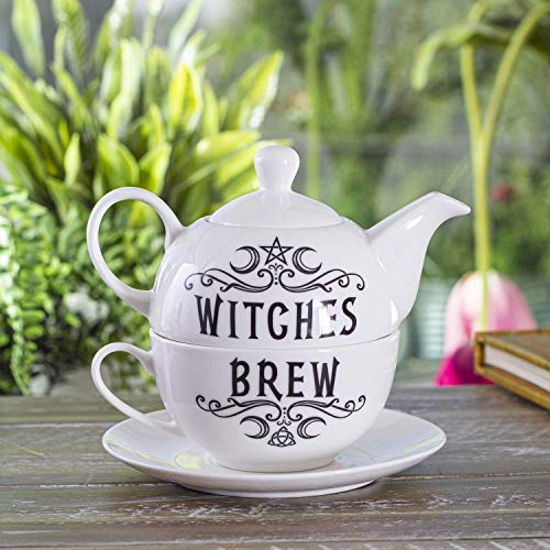 Summit Collection Alchemy Gothic Witches Brew Tea For One Set Bone China Porcelain 3 Piece Tea Set