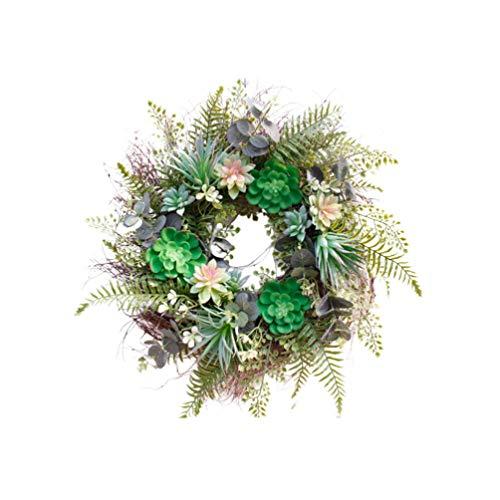 PRETYZOOM Kunstmatige Succulente Lente Zomer Krans voor Voordeur Thuis Kantoor Plant Slingerdeur Hangende Krans voor Thuis Bruiloft Decoratie