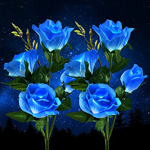 Solar Lights Outdoor Garden, Garden Lights Solar Powered Waterproof with 8 Bigger Blue Rose Flower, 2 Pack Outside Solar Garden Lighting Ornaments for Christmas Gift Pathway Yard Wedding Party Fence