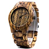 BEWELL Men Wood Watch Analog Quartz Zebrawood WatchBand Vintage Handmade Wooden Watch W086B