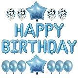 Canghai Globos De Cumpleaños Para Decoración, Globos De Feliz Cumpleaños Con Confeti De Látex De Aluminio Decoración De Cumpleaños Para Interiores Y Exteriores Para Niños Adultos (azul Claro)