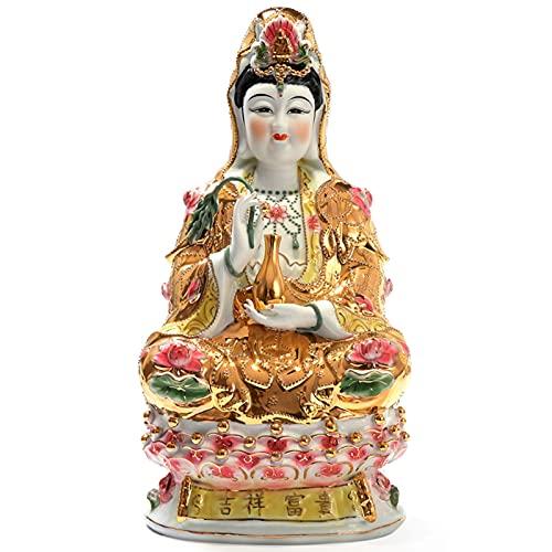 DYB Guan Yin Buddha Statuen für Wohnkultur, Quan Yin Figur Buddhist Avalokiteshvara Kuan Yin Skulpturen auf Lotus, Dekoration, A.