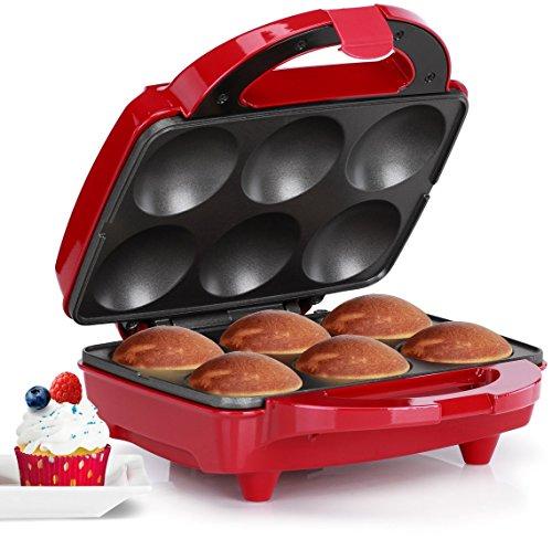 Holstein Housewares HF-09013R Full Size Fun Cupcake Maker, Makes 6, Red/Stainless Steel