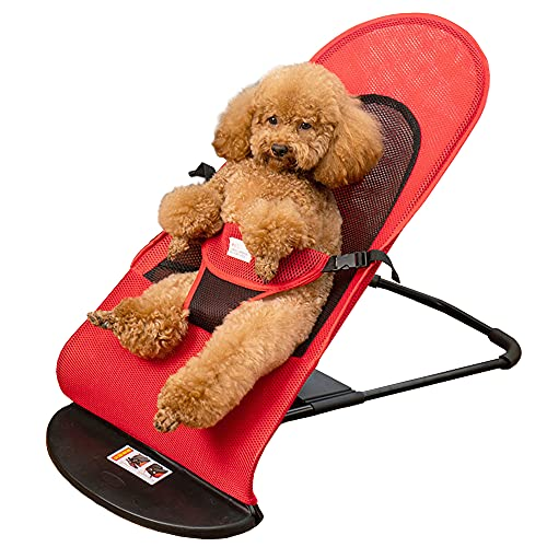 Pet Rocking Bed Chair, Vinkyster Portable Medium Small Puppy Dog Cat Rocker Bed,with Removable & Washable Cover, Pets Summer Folding Rocker Sofa Bed for Weight Below 33bl Pets (Red)