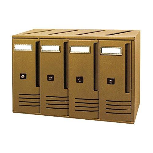 Alubox 27360-10 Alu Casellari Postali Con 4 4-Box, 42X30X17.5, Bronzo