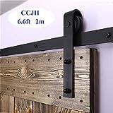 Rail Porte Coulissante 200cm/6.6ft Noir, CCJH Kit Rail Coulissant Armoire Placard, Convient à 1 Porte Large de 100 cm [J Shape Hanger]