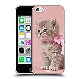 Head Case Designs Chaton avec Arc Rose Chats Coque en Gel Doux Compatible avec Apple iPhone 5c