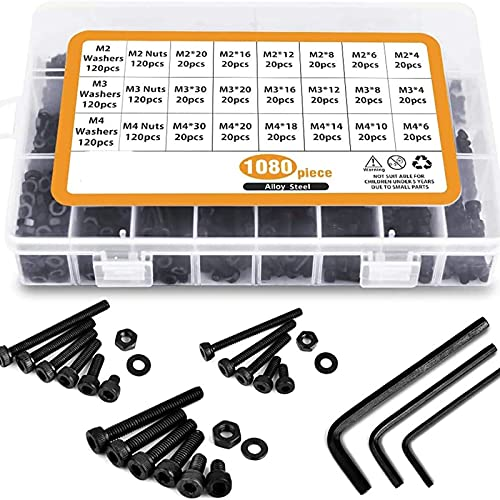HHOSBFSS Tornillos Y Tuercas De Acero Inoxidable M2-M3-M4-1080PCS, Tapa De Cabeza De Socket Hexagonal 1080 PCS