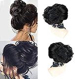 Hikeiyu 100% Human Hair Messy Bun Hair Pieces Extensions Scrunchies Updo Chignons Real Hair Messy bun for Women Girls (Natural Black)