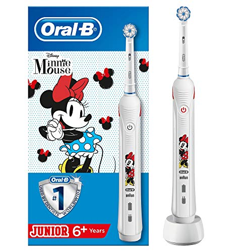 Oral-B Junior Minnie Mouse Elektrische Zahnbürste mit visueller Andruckkontrolle, für Kinder ab 6 Jahren