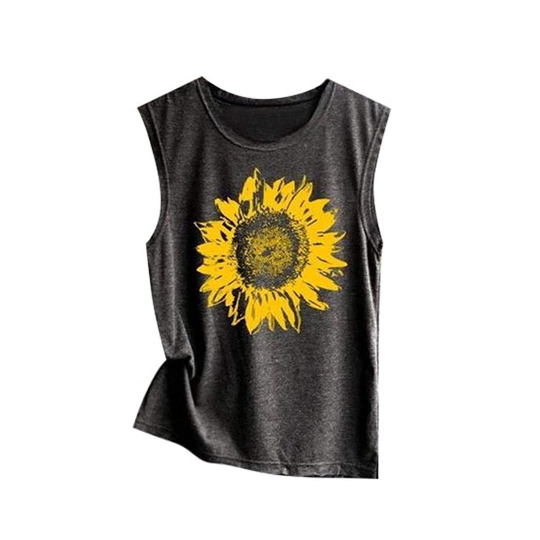 AOJIAN T Shirt Women Sleeveless O Shirts Neck Sunflower Tunic Blouse Tanks Vest Tops