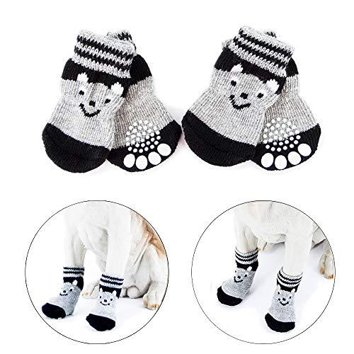 Vibury Anti Rutsch Socken, Hundesocken für Hunde und Katzen Innenbereich, Pfoten-Schutz und Traktion Dank Silikon-Gel (XS)