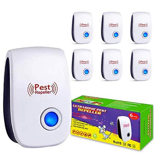 Ultrasonic Pest Repeller, 6 Pack, Ultrasonic Pest Repellent, Electronic Indoor Pest Repellent Plug in,Ultrasonic Pest Repeller for Living Room, Bedroom,Home, Warehouse