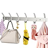 HOMEMAXS Heavy Duty Stainless Steel Wiredrawing Wall Mounted Hook Rack Hook Rail Coat Rack with 6 Hooks Home Storage Organization for Kitchen Bedroom Bathroom
