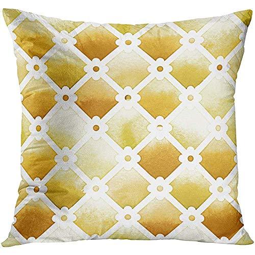Kussensloop Wilton Trellis Patroon met Quatrefoil van gele kleuren op witte aquarel pittige mosterd decoratieve kussensloop Home Decor Square 18x18 inch kussensloop