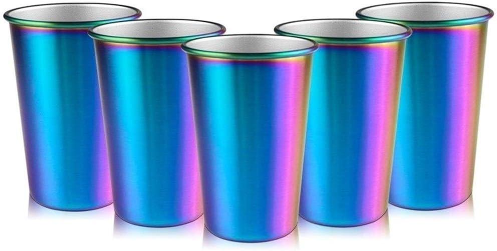 GZSC Reutilizable Taza de café Rainbow Party Cup Taza de Acero Inoxidable 16Oz 5 Piezas Vaso de Cerveza Jarra de Cerveza (Color : 304 Stainless Steel)