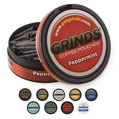 Grinds Coffee Pouches   10 Cans of Peppermint   Tobacco Free, Nicotine Free Healthy Alternative   18 Pouches Per Can   1 Pouch eq. 1/4 Cup of Coffee (Peppermint)