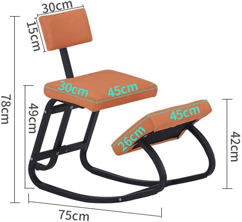 AYHa Agenouillé Chaises orthopédique ergonomique Posture Cadre bureau Tabouret Chaise Siège de soins de santé Accueil Meubles Chaises de bureau,Orange Noir