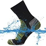 SuMade Waterproof Socks Crews, Unisex Women Lightweight Breathable Compression Socks Cushioned Outdoor Sports Crew Socks for Hiking Cycling Fishing Backpacking 1 Pair (Blue, Small)