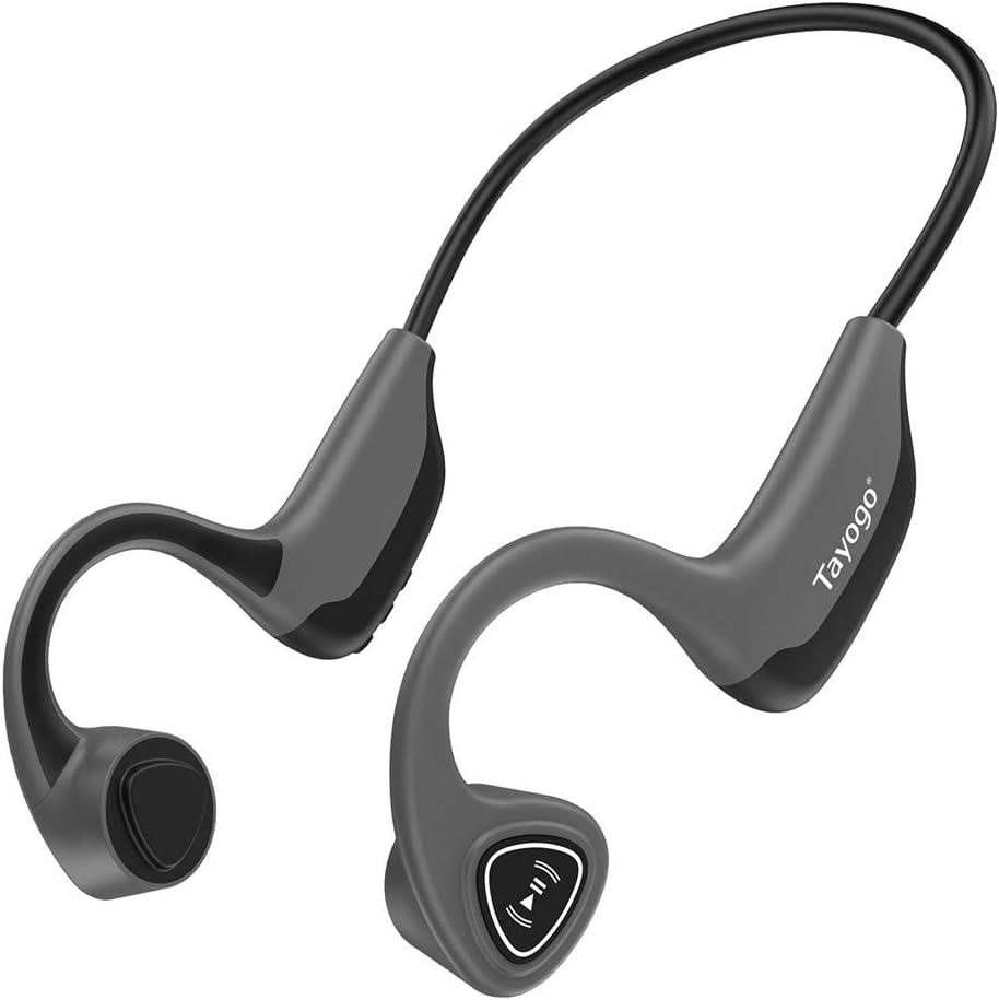 Auriculares Bluetooth de conducción ósea, reproductor de MP3 inalámbrico de 8 GB, oído abierto para correr, caminar, deportes, fitness (gris)