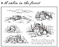 DIYスクラップブッキングフォトアルバム用の森の小屋透明クリアシリコンスタンプシール装飾クリアスタンプM1356
