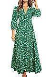 Eledobby Vestido Botones de Flores Mujer Bohemio Mangas 3/4 Cuello en V Profundo Vestir Camisero Largo Elegante A Línea Ropa Casual para Fiesta Playa Verde M